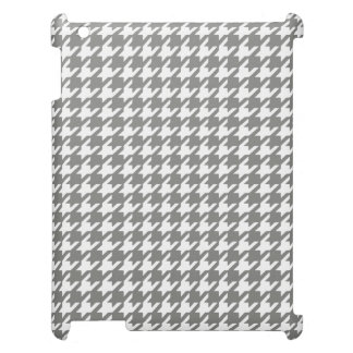 Classic Gray and White Houndstooth Pattern iPad Covers