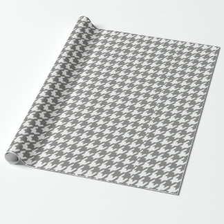 Classic Gray and White Houndstooth Pattern Wrapping Paper