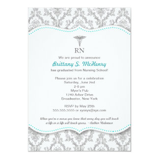 "Classic Gray & Turquoise Nurse graduation pinning 5"" X 7"" Invitation Card"