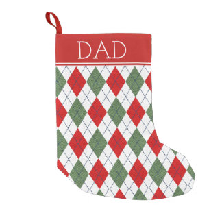 Classic Green and Red Argyle Small Christmas Stocking