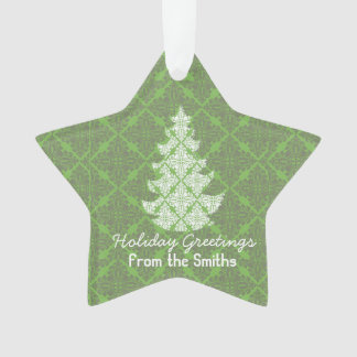 Classic Green Holiday Damask Tree Greetings Ornament