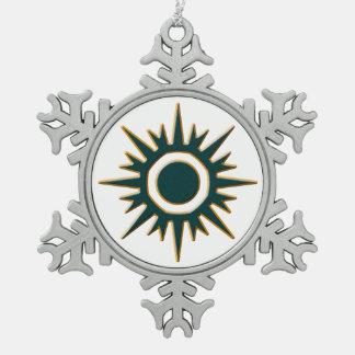 Classic Green Sunburst Snowflake Pewter Christmas Ornament