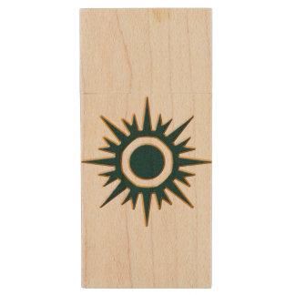 Classic Green Sunburst Wood USB Flash Drive