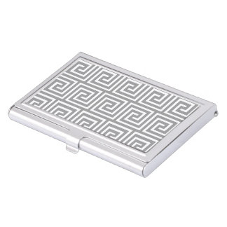 Classic Grey and White Greek Key Pattern Business Card Holder