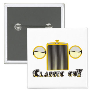 Classic Guy – Shiny chrome grille from classic car 2 Inch Square Button