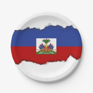 Classic Haitian Flag 7 Inch Paper Plate