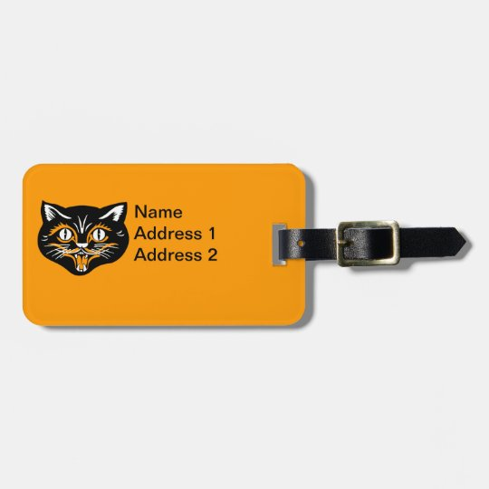 Classic Halloween Vintage Smiling Black Cat Face Luggage Tag