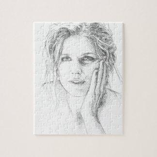 Classic hand drawn portrait jigsaw puzzle