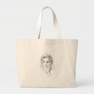 Classic hand drawn portrait large tote bag