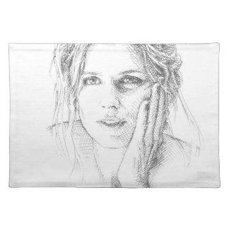 Classic hand drawn portrait placemat