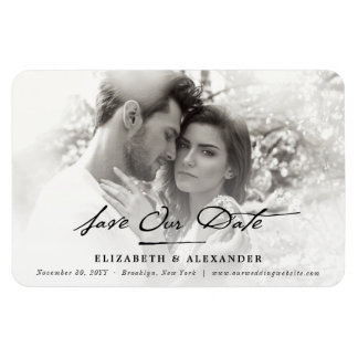 Classic Handwriting Save The Date Photo Magnet