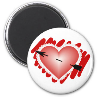 Classic Heart and Arrow 2 Inch Round Magnet