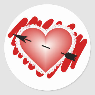 Classic Heart and Arrow Round Sticker