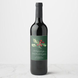 Classic Holly Berry Wine Label