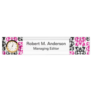 Classic Hot Pink and Black Damask Elements Desk Name Plate