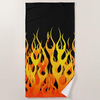 Classic Hot Rod Racing Flames Decor on a Beach Towel