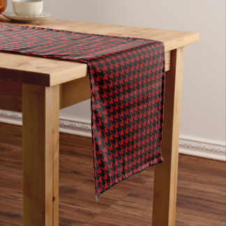 Classic Houndstooth Pattern in Black and Red Short Table Runner