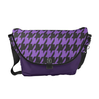 Classic Houndstooth Pattern in Purple Courier Bags