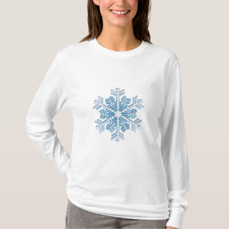 Classic Icy Blue Winter Christmas Snowflake T-Shirt