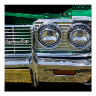 classic impala chrome with green paint poster