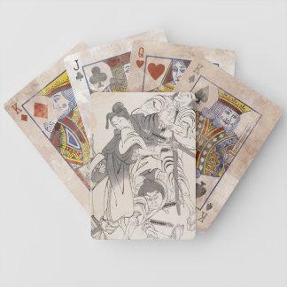 Classic ink painting warriors samurai Hokusai art Poker Deck