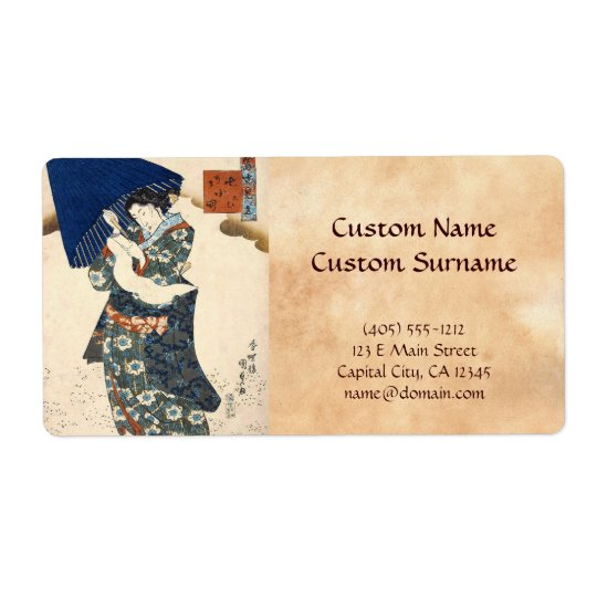 Classic japanese ukiyo-e geisha with umbrella art shipping label