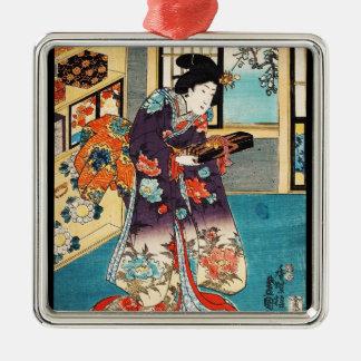 Classic japanese vintage ukiyo-e geisha Utagawa Silver-Colored Square Ornament