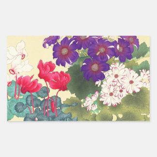Classic japanese vintage watercolor flowers art sticker