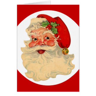 Classic Jolly Santa Claus Face Custom Christmas Card