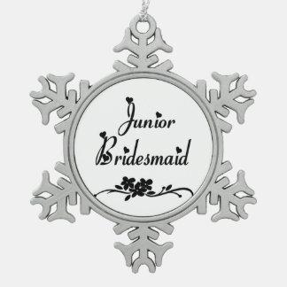 Classic Junior Bridesmaid Pewter Snowflake Ornament