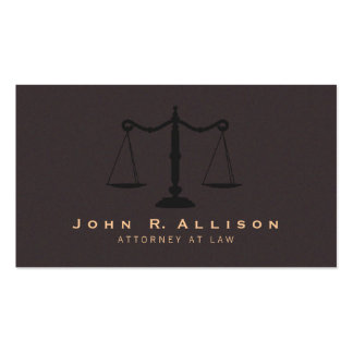 Classic Justice Scale Brown Suede Look Attorney Business Card