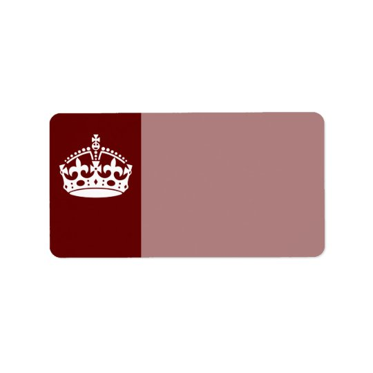 Classic Keep Calm Crown on Burgundy Red Label