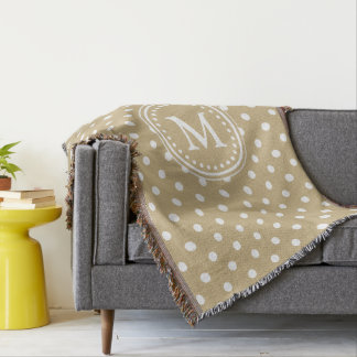 Classic Khaki and White Polka Dot Monogram Throw Blanket