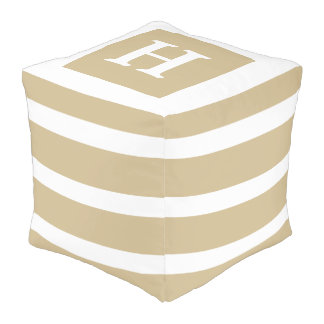 Classic Khaki and White Stripe Monogram Pouf
