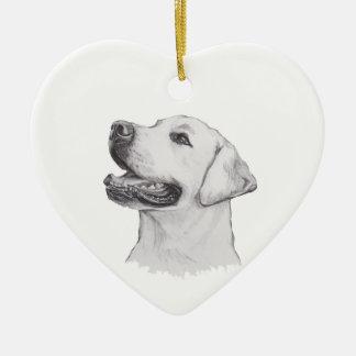 Classic Labrador Retriever Dog profile Drawing Ceramic Heart Ornament