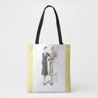 Classic ladies fashion vintage print & cream edges tote bag