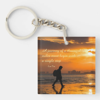 Classic Lao Tzu Journey Quote Keychain