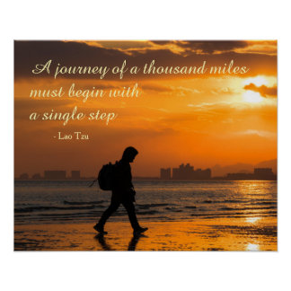 Classic Lao Tzu Journey Quote Poster