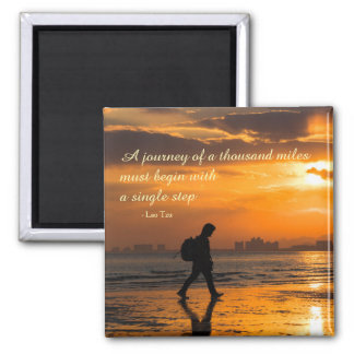 Classic Lao Tzu Journey Quote Square Magnet