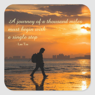 Classic Lao Tzu Journey Quote Square Sticker