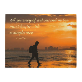 Classic Lao Tzu Journey Quote Wood Print