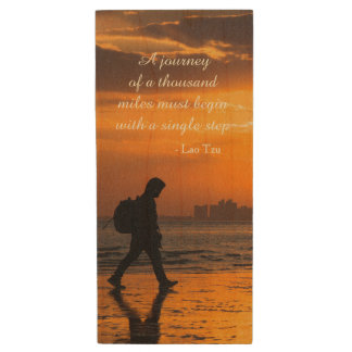 Classic Lao Tzu Journey Quote Wood USB 3.0 Flash Drive