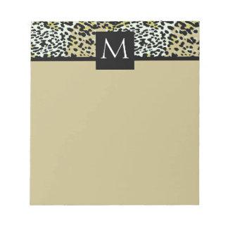 Classic Leopard Print Monogrammed Notepad
