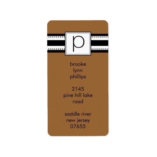 Classic Letter P Monogram Vetical Address Labels. Label