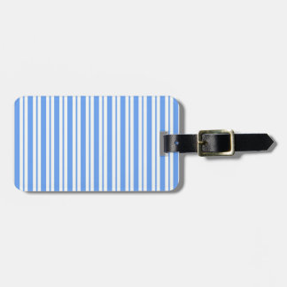 Classic Light Blue White Uneven Stripe Pattern #2 Luggage Tag