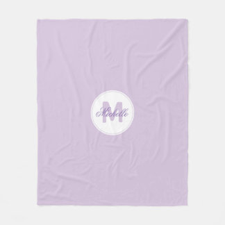 * Classic Lilac Name and Monogrammed Medallion Fleece Blanket