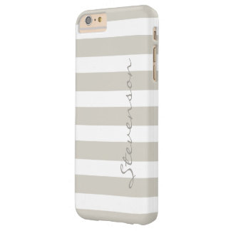 Classic Linen Beige Stripes - Personalized Name Barely There iPhone 6 Plus Case