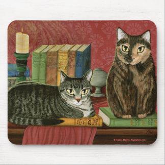 Classic Literary Cats Poe Dickens Art Mousepad