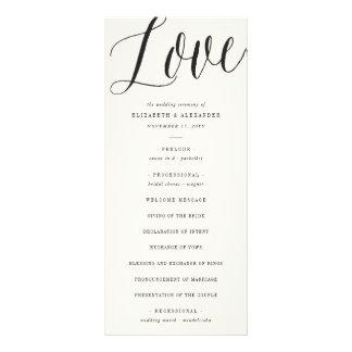 Classic Love Script Geometric Wedding Program Card