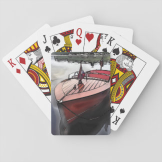 Classic mahogany boat print on playing cards